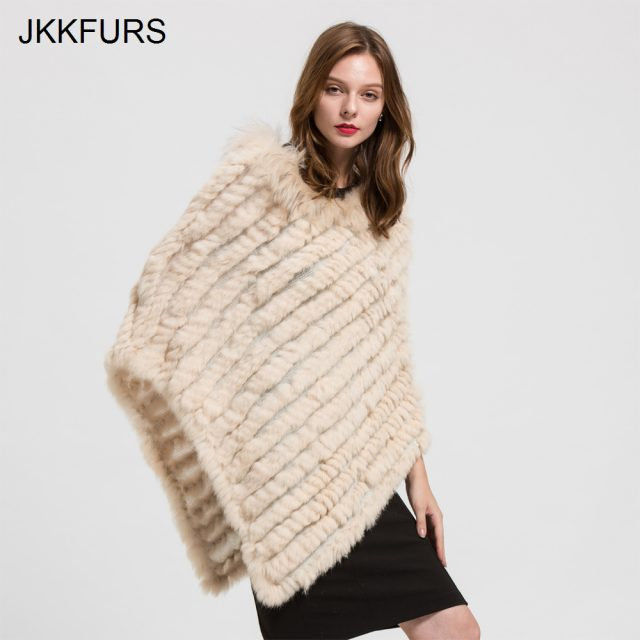 2019 Women's Poncho Real Rabbit Fur Knitted Shawl Raccoon Fur Collar Top Quality Large Cape Fashion Style S1729