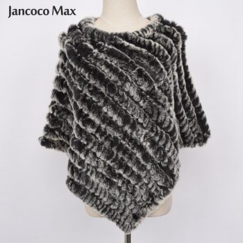 Jancoco Max 2018 Real Rabbit Fur Poncho Women Fashion Style Knitted Shawl Ladies Natural Fur Cape S1071S