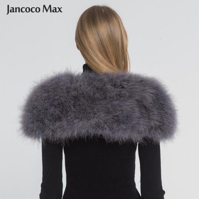 Jancoco Max 2019 Real Fur Cape Shrug Women Genuine Ostrich Feather Fur Shawl Poncho Fashion Hot Sale One Size S1264