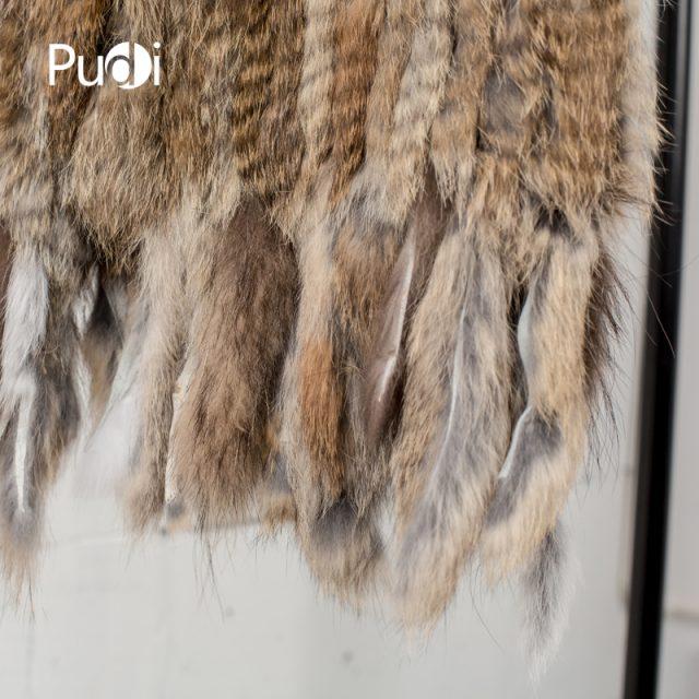 VR031 PUDI Knit knitted handmade Rabbit fur vest gilet sleeveless garment waistcoat
