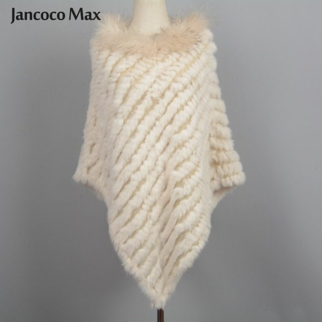 Jancoco Max 2019 New Arrival Real Rabbit Fur Knitted Poncho Raccoon Fur Collar Shawls Women Winter Capes Pullover S7110