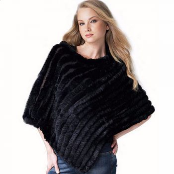 ZY82003 Classics Style Women Winter Fashion Knitted Real Rabbit Fur Warm O-Neck Poncho Many Colors Scarf Outerwear Coat