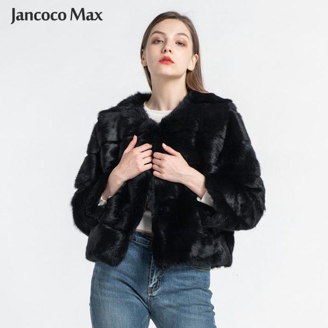 Women's Real Rabbit Fur Coats Fashion Natural Fur Short Jacket High Quality Lady Overcoat S1538