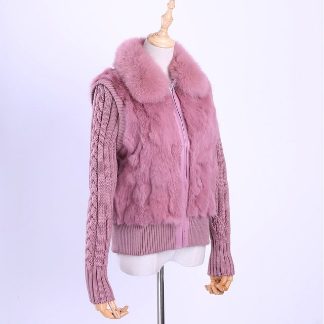 2019 Women's Genuine Real Rabbit Fur Fox Fur Collar Knitting Sleeve Women's Winter Coat Fur Jacket Casual Short Outwear Slim