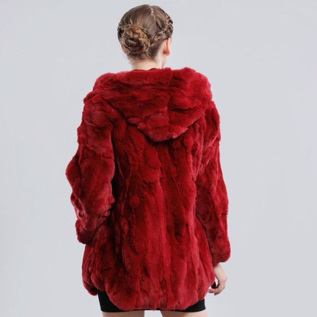 2019 New Winter Genuine Real Rex Fur Jacket Fur Hood Women Casual Rex Rabbit Fur Coat Natural Rex Rabbit Fur Hooded Overcoat