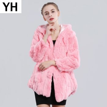 2019 New Winter Genuine Real Rex Fur Jacket Fur Hood Women Casual Rex Rabbit Fur Coat Natural Rex Rabbit Fur Hooded Overcoat