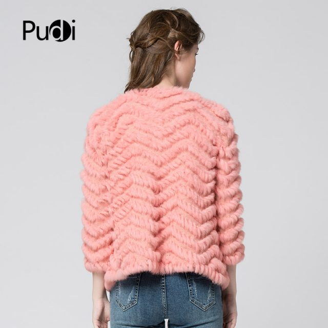 CR003 new autumn women candy color real rabbit fur coat  vest The kintted  free shipping  black 5colors
