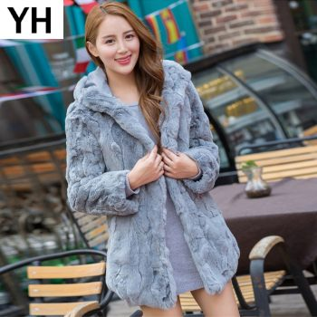 100% Real Natural Rex Rabbit Fur Coat 2019 Real Rex Rabbit Fur Jacket Warm Soft Thick Rex Rabbit Fur Overcoat Wholesale Retail