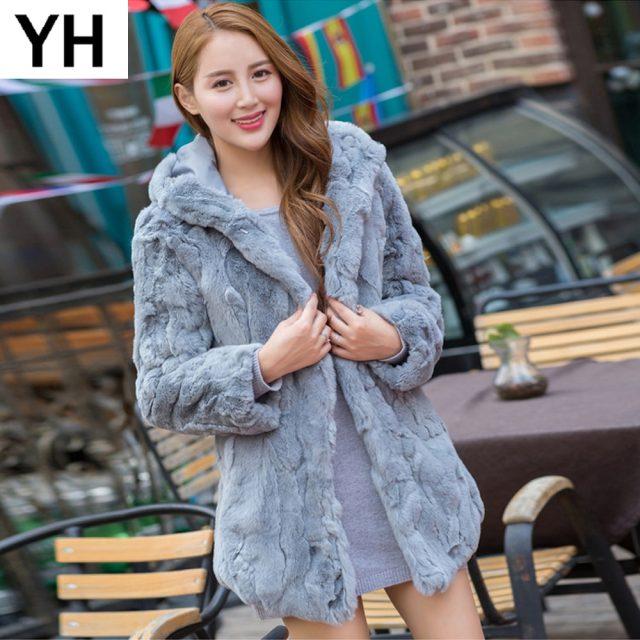 100% Real Natural Rex Rabbit Fur Coat 2019 Real Rex Rabbit Fur Jacket Warm Soft Thick Rex Rabbit Fur Overcoat Wholesale Retail