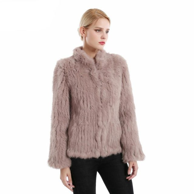 2019 Women Clothing Genuine Natural Real Rabbit Fur Knitted Coat Jacket Long Sleeves Turn-down  Fashion Knit Real Fur Jackets
