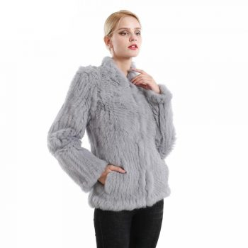 2019 Women Clothing Genuine Natural Real Rabbit Fur Knitted Coat Jacket Long Sleeves Turn-down  Fashion Knit Real Fur Jackets