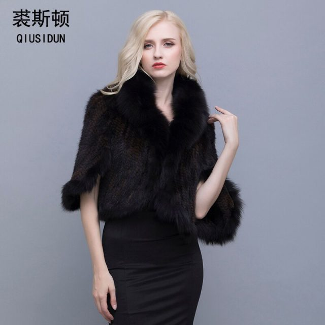 QIUSIDUN Real Fur Poncho Knitted Mink Jackets Mink Fur Coat China Natural Fox Fur Collar Coat Fur Coat  Winter Gift For A Woman
