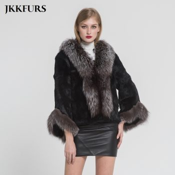 Women's Fur Jacket Fashion Real Rabbit Fur Coat With Silver Fox Fur Collar Winter Thick Warm Fur High Quality Outerwear S7354