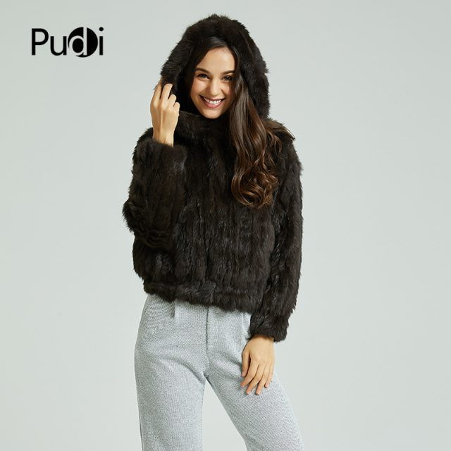 Pudi CT803 women's real rabbit fur knit warm coat girl's winter jackets sweaters fashion coats with fur hood coat