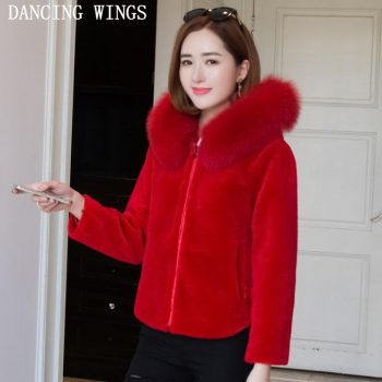 Luxury red natural sheep shearing fur jacket winter women real fox fur hooded short coats outwear