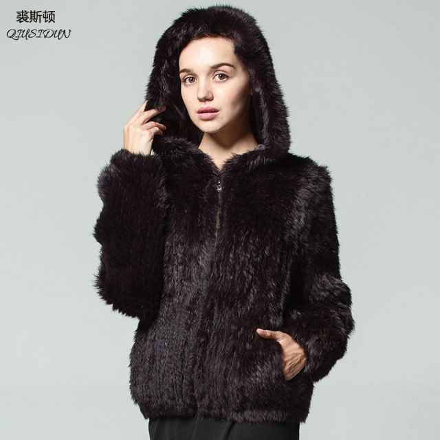 QIUSIDUN Rabbit Knitting Fur Coat Winter Women's Warm Fashion Jacket Hooded Big Coats Solid Full V-Neck Pockets Knitted coats