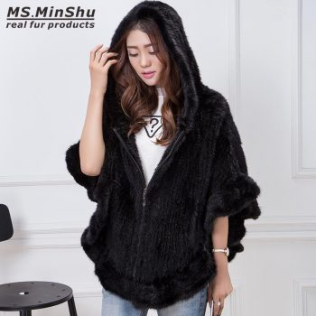 MS.MinShu Hand Knitted Mink Fur Poncho Women Real Fur Cape Hooded Coat Zipper Fashion Lady's Outwear Genuine Mink Fur Shawl