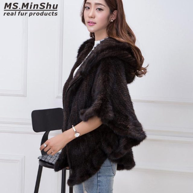 MS.MinShu Hand Knitted Mink Fur Poncho Women Real Fur Cape Hooded Coat Zipper Fashion Lady's Outwear Genuine Mink Fur Shawl