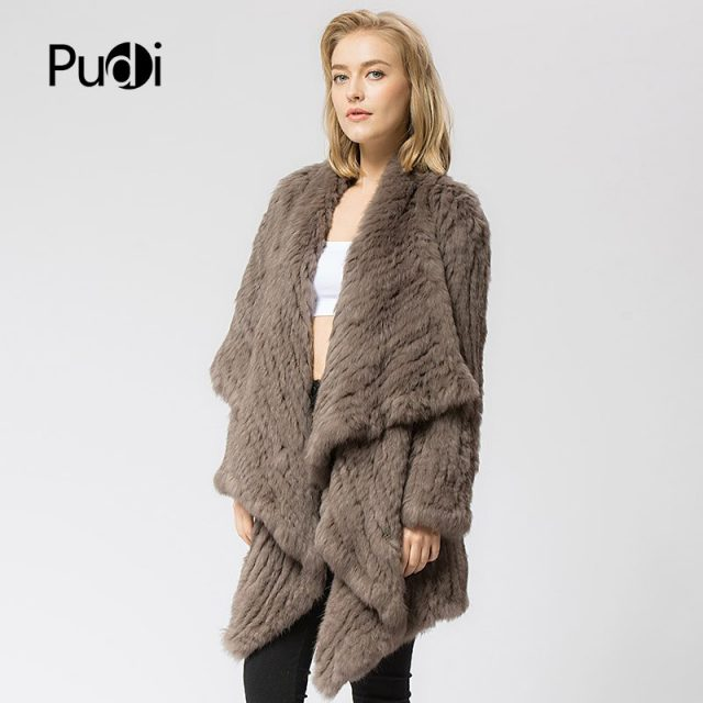CR060 Knitted knit 100% real rabbit fur coat overcoat jacket Russian women's winter thick warm genuine fur coat