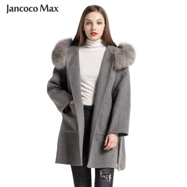 Women's Fashion Real Wool Coats Fox Fur Collar Genuine Cashmere Fur Jackets Hooded Outerwear S7494