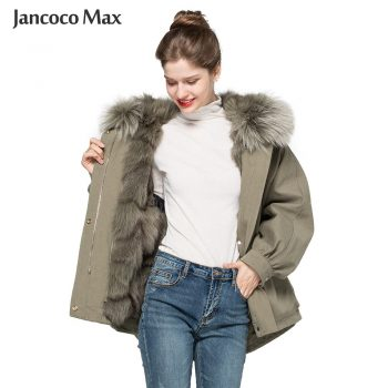 New Winter Fashion Real Fur Coats Women Natural Fox Fur Lining Female Jackets Raccoon Fur Hood Outerwear S7625