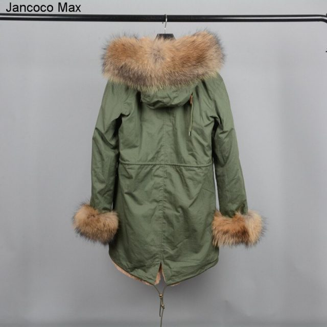 Jancoco Max 2019 Winter Fashion Parka Real Raccoon Fur Collar Hooded Coat Thick Warm Outerwear Women Jacket S1801