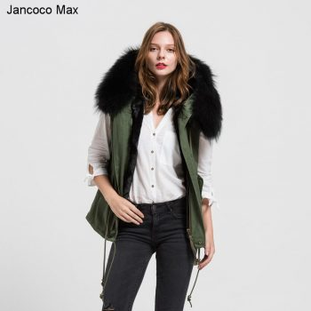 Jancoco Max New Green Vest Black Lining With Real Raccoon Fur Collars Jacket Women Winter Warm Parka Wholesale/ Retail S1735