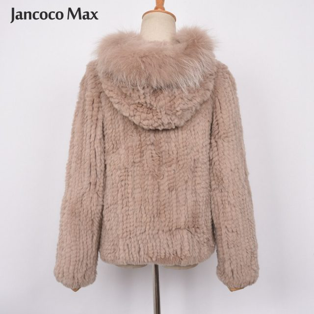 New Arrival Women Fashion Style Real Rabbit Fur Coat High Quality Hooded Fur Jacket Winter Soft Warm S7434
