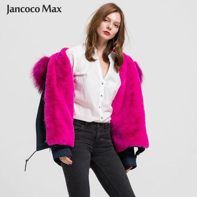 Women Fashion Fur Parka Real Raccoon Fur Big Collar Parkers Hooded Coat Detachable S1722