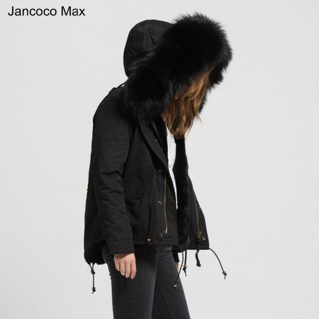 Jancoco Max 2019 Detachable Black Parker Jacket  Genuine Raccoon Big Collar Trim Winter Top Warm Fur Lined Hooded Coat B1722