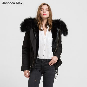 Jancoco Max 2019 Detachable Black Parker Jacket  Genuine Raccoon Big Collar Trim Winter Top Warm Fur Lined Hooded Coat B1722