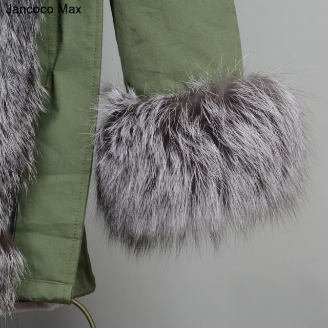 Jancoco Max 2019 Real Fox Fur Collar Hooded Coat Rex Rabbit Lined Parka Women Parker Winter Jacket Warm Overcoat S7113
