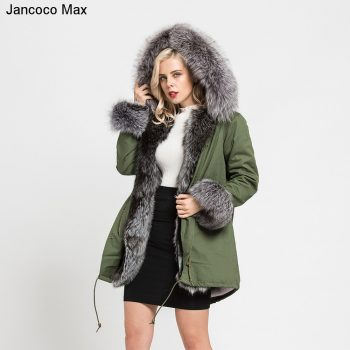 Jancoco Max 2019 Real Fox Fur Collar Hooded Coat Rex Rabbit Lined Parka Women Parker Winter Jacket Warm Overcoat S7113