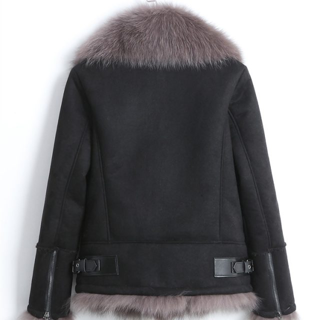 rf0210 Real Fox Fur Shearling Jacket Women Natural Fox Fur with Faux Leather Jacket Fashion Motorcycle Leather Coat