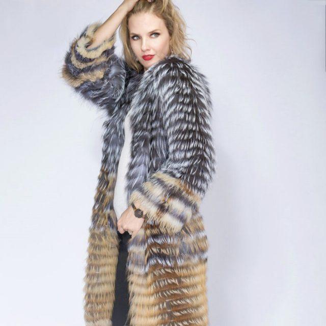 2020 Sandbar Fur Wholesale Genuine Leather Real Fox Fur Sliver Fox Fur Women Coats Female natural color Real Fox Fur