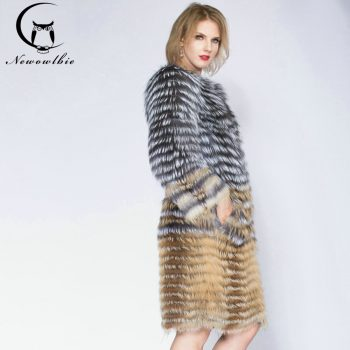 2020 Sandbar Fur Wholesale Genuine Leather Real Fox Fur Sliver Fox Fur Women Coats Female natural color Real Fox Fur