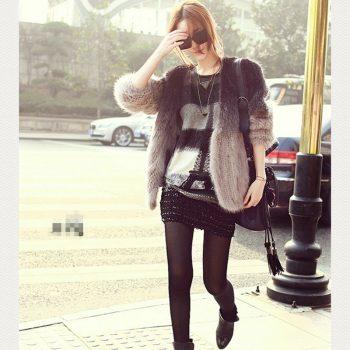 Real Mink Fur Coat 2019 Winter Genuine Natural Knitted Mink Fur Coat Jacket Women Fur Trench Outerwear Coats