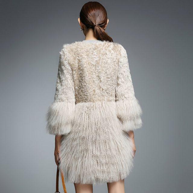rf0093 Winter Fashion Women Real Fur Coat Natural Lamb Fur with Mongolia Sheep Fur Jacket Real Sheep Fur Jacket