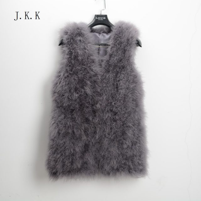 Jancoco Max S1007 Real fur gilet Or Genuine ostrich /Turkey Feather fur Long Vest Women New Fashion Jacket