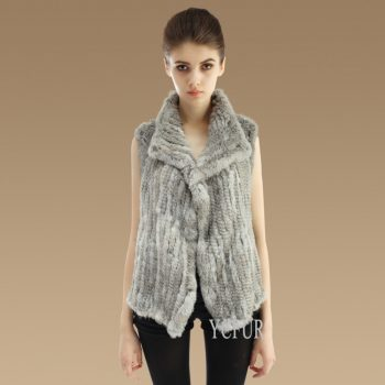 YCFUR Women Vests Jackets Winter Handmade Natural Rabbit Fur Vest Waistcoat for Ladies Real Fur Gilet Female