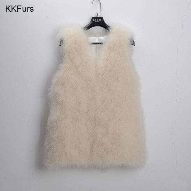 JKKFURS New Fashion Women Gilet Genuine Ostrich / Turkey Feather Fur Long Vest Women Winter Warm Fur Jacket S1007