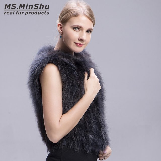 Ms.MinShu Raccoon Fur Vest Grey Short Winter Fox Fur Vest Sleeveless Women Raccoon Fur Coat Fashion Real Fur Vest for Girl