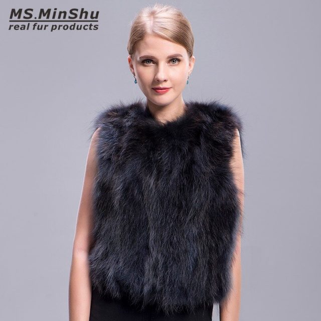 Ms.MinShu Raccoon Fur Vest Grey Short Winter Fox Fur Vest Sleeveless Women Raccoon Fur Coat Fashion Real Fur Vest for Girl