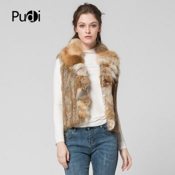 VT7007 The new winter women's vest Classical Knitted Rabbit Fur Vest Gilet with fox fur collar vest women's vest