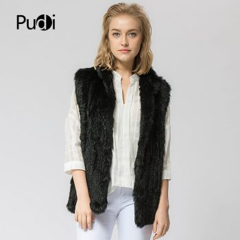 VR025  Knitted knit new real rabbit  fur vest overcoat jacket women's winter warm genuine fur vest stand collar