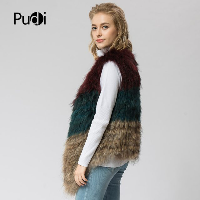 VR050 Knitted Real raccoon fur vest/ jacket /overcoat  women's fashion winter warm genuine fur vests ourwear