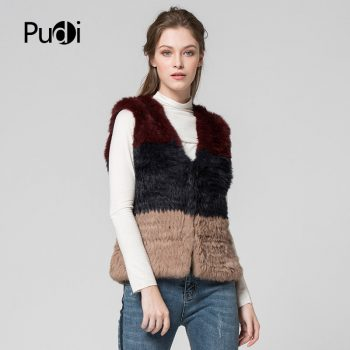 Pudi Women vest Genuine Natural Real rabbit fur Knitted Vests /Waistcoat/ gilet /coats  vt7037