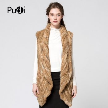 Pudi F140848 women rabbit fur vest Knit Rabbit Fur Think Vest With Long Collar Coat Jacket Fur Waistcoat Quality A