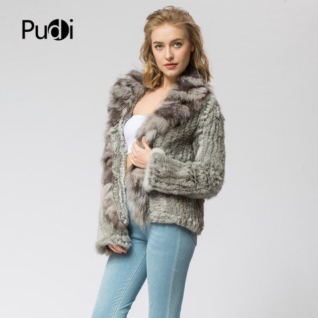 CR072 Knitted real rabbit fur coat overcoat jacket with fox fur collar  Russian women's winter thick warm genuine fur coat