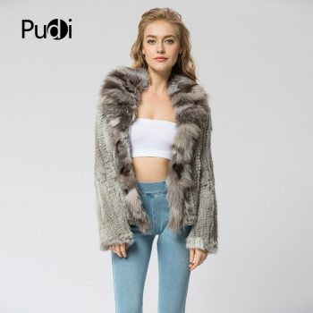 CR072 Knitted real rabbit fur coat overcoat jacket with fox fur collar  Russian women's winter thick warm genuine fur coat